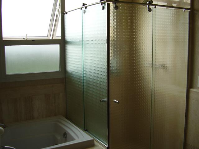 Box de Vidro Jateado para Banheiro e Box de Vidro Temperado  Glass Company -> Banheiro Decorado Com Blindex